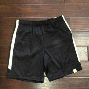Men's athletic shorts. Black w/ neon green stripes
